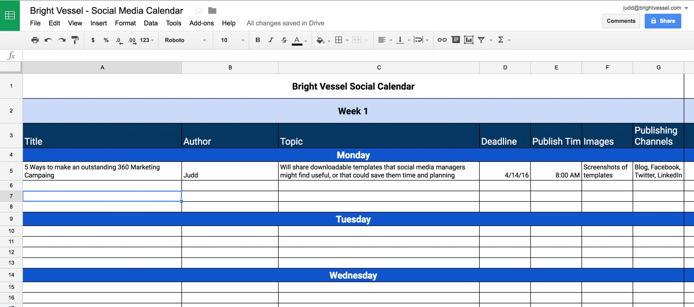 Social Media Content Calendar Goolge Sheets Example