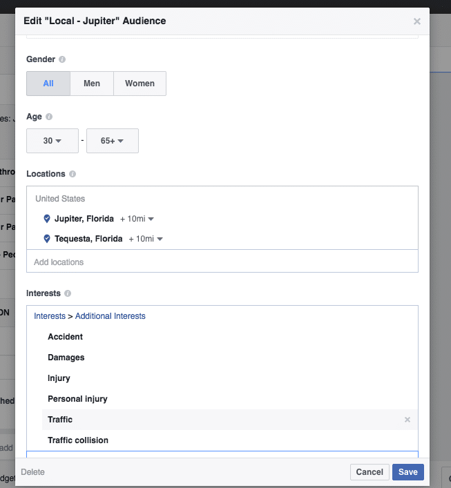 Example Facebook Targeting