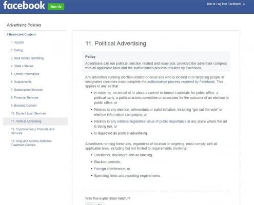Facebook Political Advertising