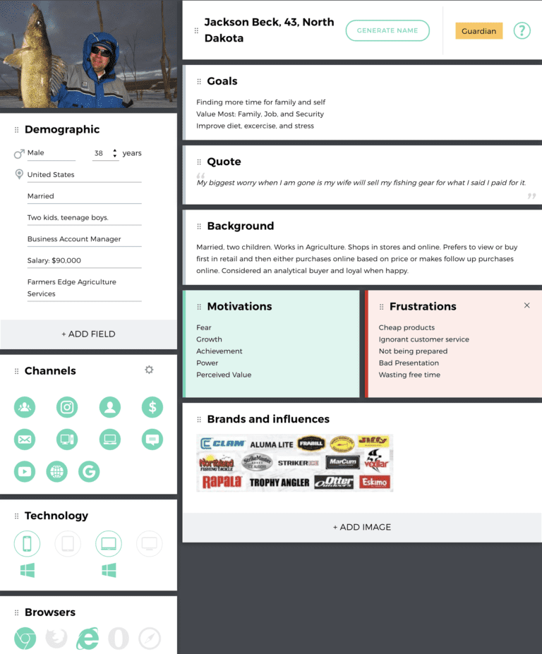 Customer Persona Example - Fisherman