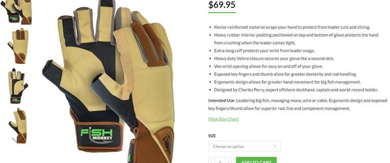 Fishmonkey glove product display
