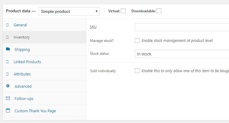 WooCommerce Inventory Settings