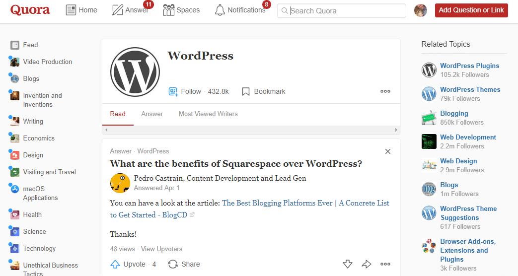 Quora WordPress Support