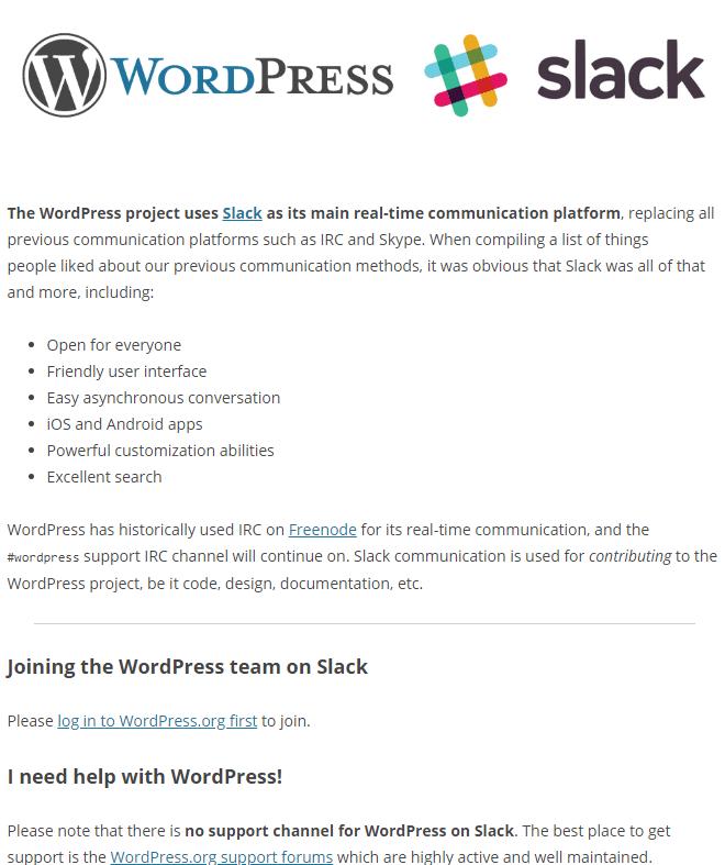 WordPress support Slack