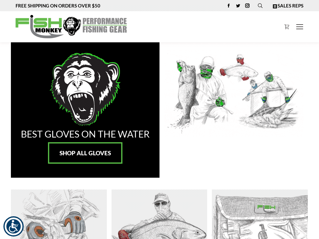 Best WordPress Design - Fish Monkey Gloves