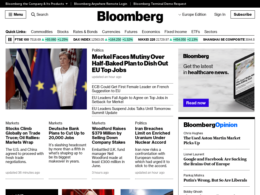 Best WordPress Design - Bloomberg Professional