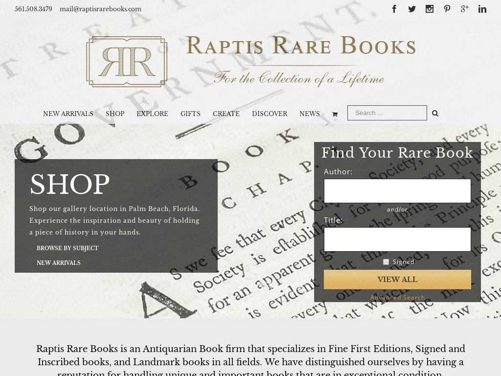 Best WordPress Design - Raptis Rare Books