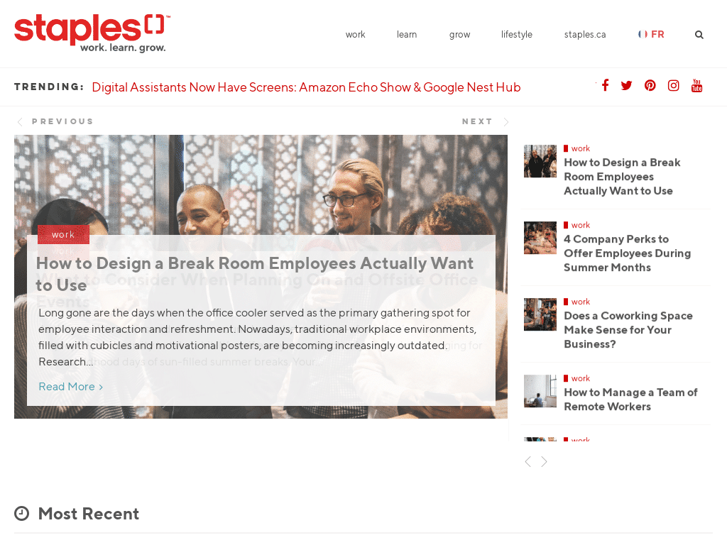 Best WordPress Design - Staples Canda Blog