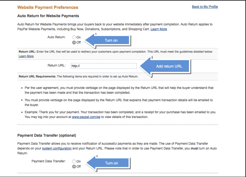 Website Payment Preferences