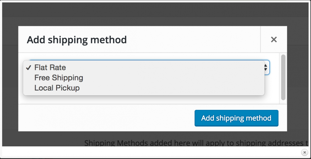 Woocommerce Add Shipping method