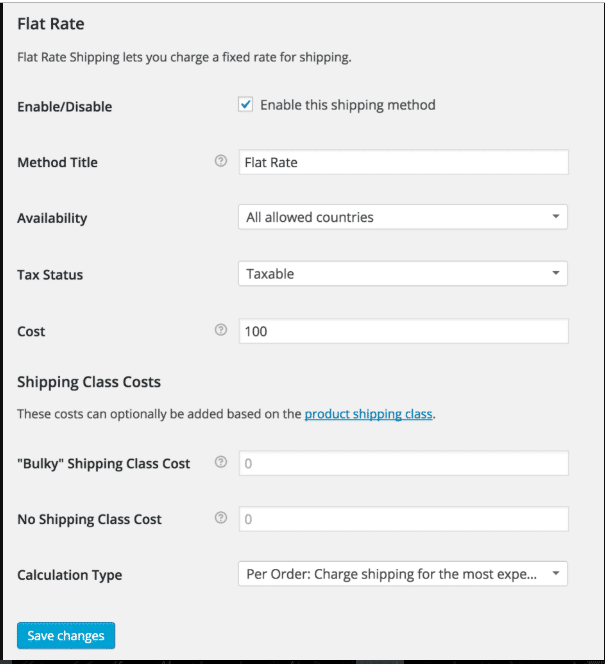 Woocommerce Shipping Classes