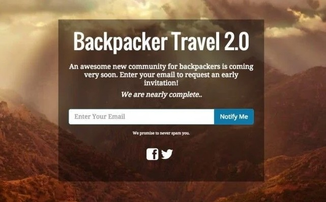 Backpacker WordPress Coming Soon Page