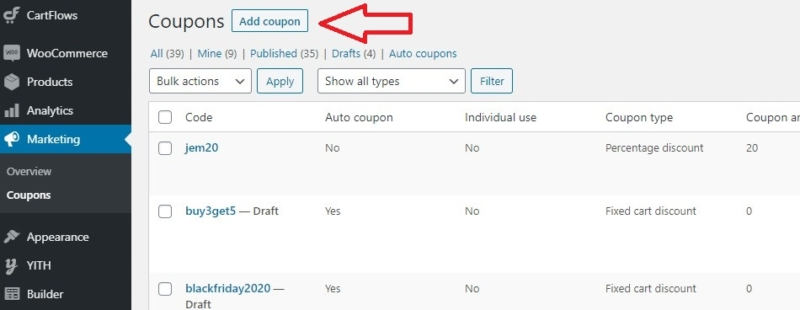 WooCommerce Add Coupon