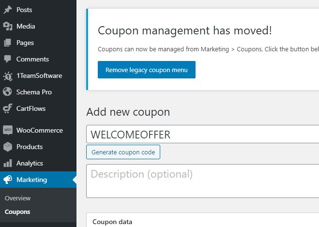 WooCommerce Add New Coupon