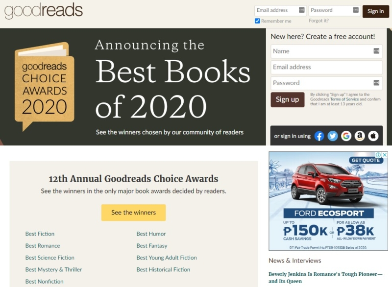goodreads Best Websign Design
