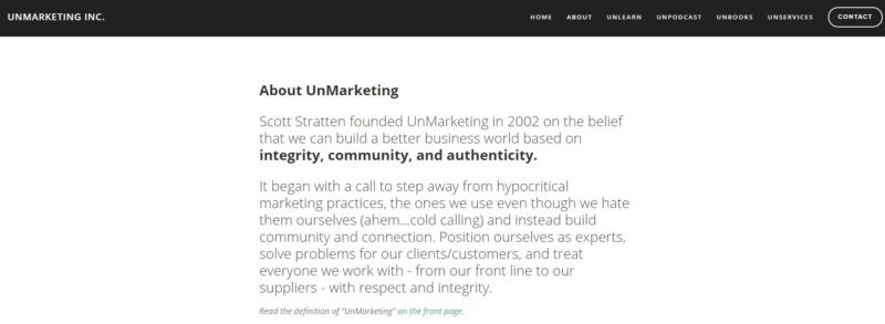 Unmarketing Best Websign Design