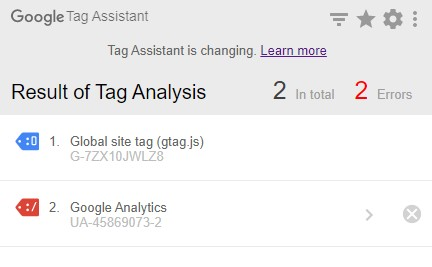 Google Tag Assistant Result Analysis