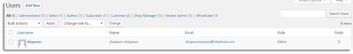 Wordpress Users page