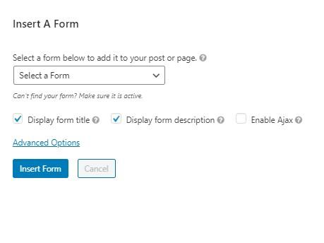 wordpress insert form